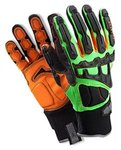 ProFlex 925F(x) Dorsal Impact-Reducing Gloves, Black, Green, Orange, Large