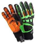 ProFlex 925F(x) Dorsal Impact-Reducing Gloves, Black, Green, Orange, Large