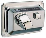Hands On Push Button Hand Dryer, Chrome Cover, Recessed Mounted