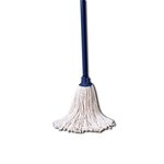 White, 4 Count 8 Oz White Cotton Mop Head With 46-Inch Handle Combination