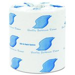 White, 1000 Sheets/Roll Standard 1-Ply Bathroom Tissue-4.5 x 3