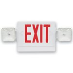 LED Emergency Exit Sign & Light Combo w/ Red Letter, White