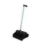 Black Pan/White Handled, LobbyMaster Plastic Lobby Dustpan-12 Inch Wide x 32 Inch High