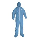 Blue, 2 XL KLEENGUARD A65 Hood & Boot Flame-Resistant Coveralls