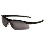 Dallas Wraparound Safety Glasses, Black Frame, Gray Lens