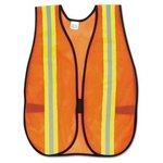 Orange Safety Vest, Reflective Strips Polyester Side Straps One Size