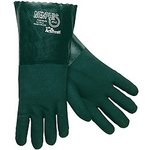 "14"" Green Gauntlet Jersey Lined PVC Gloves"