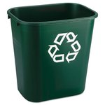 Green, Rectangular Plastic Deskside Paper Recycling Container- 7 Gallon