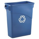 Slim Jim Blue Rectangular 15-7/8 Gal Waste Container