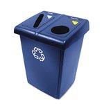 Blue, Plastic Rectangular Glutton Recycling Station-46 Gallon