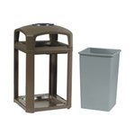 Landmark Classic Dome Top Container, Plastic, 35 Gallon, Sable