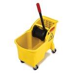 Yellow, Tandem 31-Quart Bucket/Wringer Combo