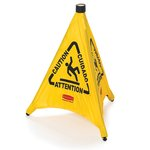 "Yellow, 3 Sided Fabric Multilingual ""Caution"" Pop-Up Safety Cone-21 x 21 x 20"
