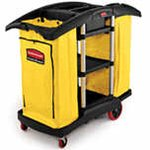 Waste Collection Cleaning Cart with 3 Shelves