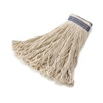 White, 16-oz Cotton Universal Headband Mop Heads -1-in Blue Headband
