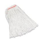 White, 16-oz Premium Cut-End Cotton Mop- 1-in Orange Headband