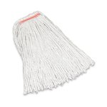 White, 16-oz Premium Cut-End Cotton Mop- 1-in Orange Headband