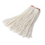 White, 16-oz Rayon Cut-End Premium Mop Heads-1-in Orange Headband