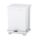 Defenders Biohazard Step Can, Square, Steel, 7 Gallon, White