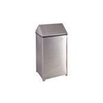 Stainless Steel, 40 Gallon Square Fire-Safe Swing Top Receptacle