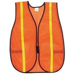 "Polyester Mesh Safety Vest with 3/4"" Lime Stripe"