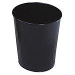 Black, Round Steel Fire-Safe Wastebasket- 6.5 Gallon