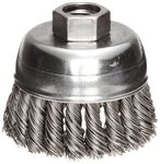"2-3/4"" Single Row Wire Cup Brush with .02 Bristle Diameter"