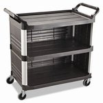 Black 3-Shelf 3-Sides Enclosed Utility Cart