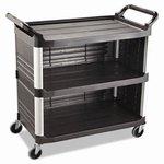Black 3-Shelf 3-Sides Enclosed Utility Cart