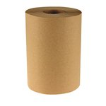 Brown 8 in. Wide Nonperforated 1-Ply Hardwound Towel Roll, 600-ft.