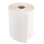 White 8 in. Wide Nonperforated 1-Ply Hardwound Towel Roll, 600-ft.