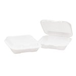 White Foam Hinged Lid 1 Comp Carryout Containers 9.25X9.25X3