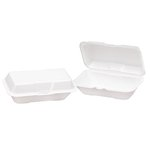 White Deep Foam Hinged Lid 1 Comp Carryout Containers 9.5X6.5X2.9