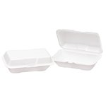 White Foamed Hinged Lid Large Hoagie Container 9.5X5.25X3.5