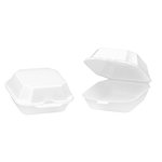 White Foamed Hinged Lid Medium Sandwich Container 9.5X5.25X3.6