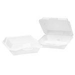 White Foam Hinged Lid 3 Comp Carryout Containers 10.25X9.25X3.25