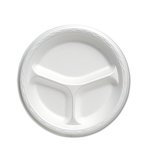 Celebrity White 8.9 in Round 3 Compartments Foam Plates
