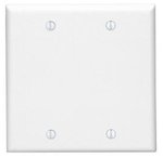 2-Gang Blank Plastic Wall Plate, White