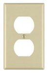 1-Gang Plastic Duplex Receptacle Wall Plate, Ivory