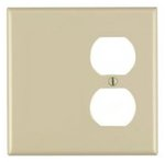 2-Gang Plastic Receptacle & Blank Wall Plate, Ivory