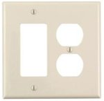 2-Gang Receptacles & Decorative Switch Wall Plate Combo, Ivory