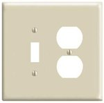 2-Gang Receptacles & Toggle Switch Wall Plate Combo, Ivory