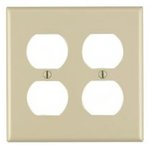 2-Gang Plastic Duplex Receptacle Wall Plate, Ivory