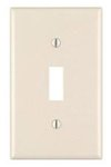 1-Gang Plastic Toggle Switch Wall Plate, Almond