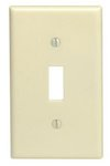1-Gang Plastic Toggle Switch Wall Plate, Ivory
