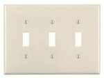 3-Gang Plastic Toggle Switch Wall Plate, Almond