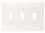 3-Gang Plastic Toggle Switch Wall Plate, White
