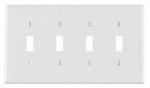 4-Gang Plastic Toggle Switch Wall Plate, White