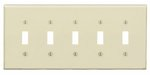 5-Gang Plastic Toggle Switch Wall Plate, Ivory