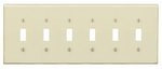 6-Gang Plastic Toggle Switch Wall Plate, Ivory